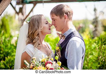 cerimônia, noiva, outdoors., noivo, casório