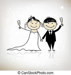 cerimônia, noivo, -, junto, noiva, desenho, casório, seu