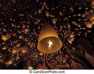 cerimônia, onde, lâmpada, tudongkasatarn, flutuante