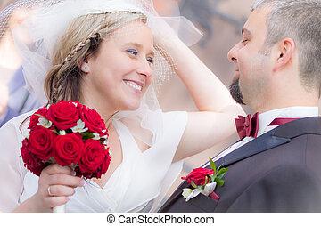 cerimônia, par, após, jovem, casório, feliz