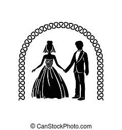 cerimônia, simples, casório, arco, ícone