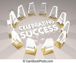 cerimônia, sucesso, ilustração, celebrando, recompensas, reconhecimento, 3d