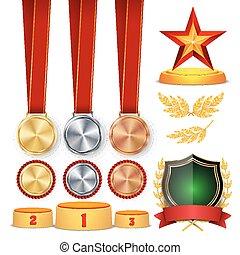 cerimônia, vencedor, honra, prize., troféu, recompensas, copos, dourado, grinalda loureiro, com, fita vermelha, e, ouro, escudo, medalhas, modelo, esportes, colocação, podium., 1º, 2º, 3rd, place., isolated., vetorial, ilustração