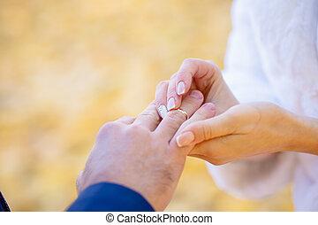 cerimônia, vestido, anéis, casório