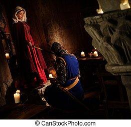 cerimonia, antico, medievale, knighting, regina, interior., castello
