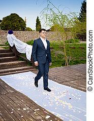 cerimonia, camminare, sposo, giovane, sposa, matrimonio, durante