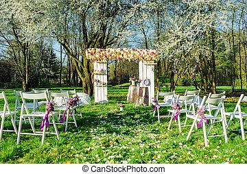 cerimonia, matrimonio, giardino, azzurramento