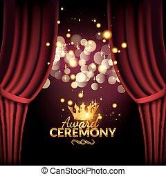 cerimonia, premiere, premio, template., disegno, esecuzione, curtains., evento, rosso
