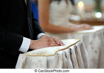 cerimonia, primo piano, mani, chiesa, groom\'s, matrimonio, durante