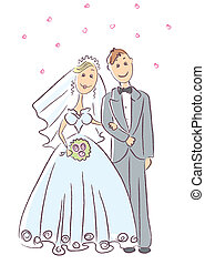 cerimonia, sposa, sposo, .vector, matrimonio