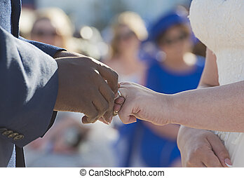 cerimonia, sposo, collocazione, anelli, sposa, matrimonio