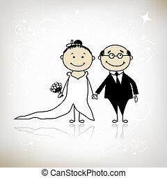 cerimonia, sposo, -, insieme, sposa, disegno, matrimonio, tuo