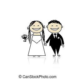 cerimonia, sposo, -, insieme, sposa, disegno, matrimonio,...