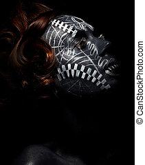 cerimoniale, nero, worship., religion., femmina, maschera