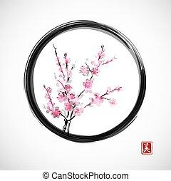 cerise, blossom., oriental, branche
