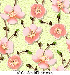 cerise, blossom., seamless, branche, texture.
