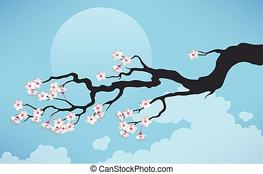 cerise, branche, fleurir