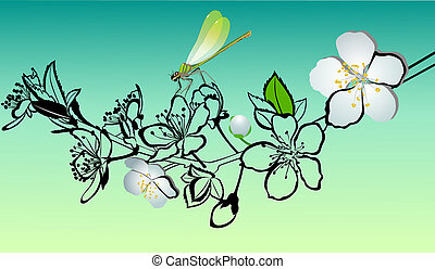 cerise, brindille, fleurs