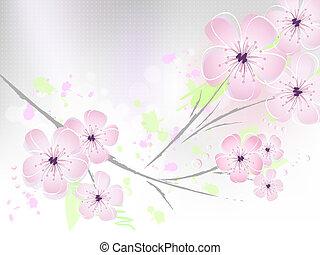 cerise, fleur, -, fond, fleurs