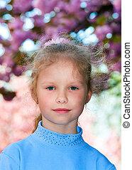 cerise, floraison, arbre, japonaise, petit, portrait, girl, heureux