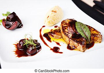 cerise, foie, sauce, frit, gras