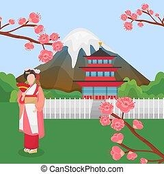 cerise, japon, caractère, tourism., symboles, pagode, asiatique, voyage, traditionnel, fleurir, japonaise, vecteur, sakura, illustration., montagne, geisha, repères, temple., fuji
