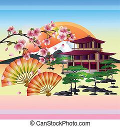 cerise, -, japonaise, arbre, vecteur, sakura, fond