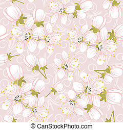 cerise, modèle, seamless, fleurs