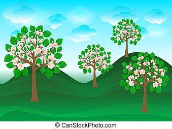 cerise, pelouse, floraison, arbres verts