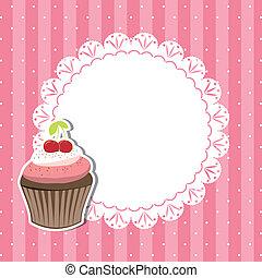 cerise, petit gâteau, carte, invitation