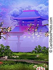 cerise, tranquille, arbres, jardin, temple