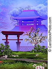 cerise, tranquille, temple, jardin, arbre