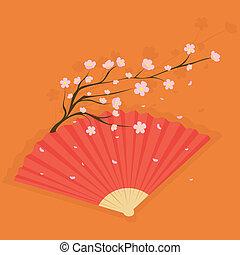 cerise, ventilateur, fleurs