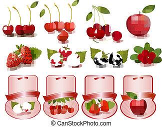 cerises, fruit, frais, grand, ensemble