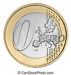 cero, moneda, euro