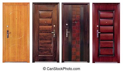 cerrado, aislado, colección, cuatro, puertas, blanco