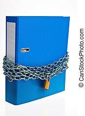 cerrado, archive carpeta, con, cadena