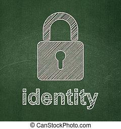 cerrado, candado, protección, concept:, plano de fondo, identidad, pizarra