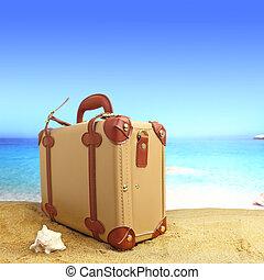 cerrado, maleta, en, playa tropical, plano de fondo