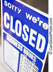 cerrado, señal de la tienda