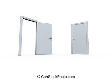 cerrado, y, abierto, puertas