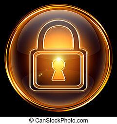cerradura, aislado, oro, fondo negro, icono