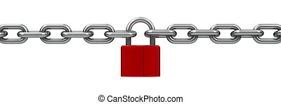 cerradura, cadena, rojo
