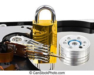 cerradura, computadora, harddrive