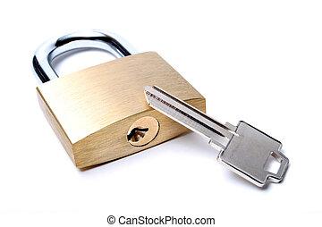 cerradura, con, integral, llave