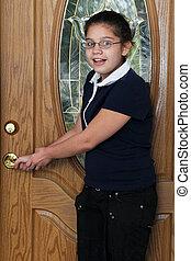 cerradura de la puerta, preteen, verificar
