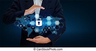 cerradura, en, el, manos, de, un, hombre de negocios, protector, el, protector, to proteger, el, cyberspace.space, entrada, datos, seguridad de datos, empresa / negocio, internet, concept., seguro, información, mapa del mundo, cerradura, prevenir, mano