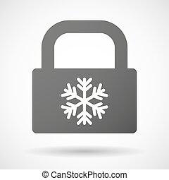 cerradura, hojuela de nieve, icono