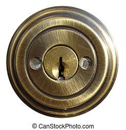 cerradura, interno, puerta