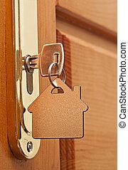 cerradura, llave, macro